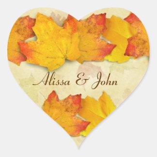 Etiqueta do coração dos casais das folhas de bordo adesivo coração