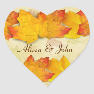Etiqueta do coração dos casais das folhas de bordo adesivo em forma de coração