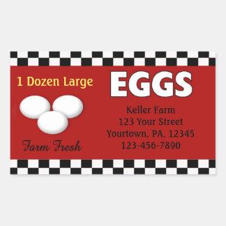 Etiqueta do costume dos ovos adesivo retangular