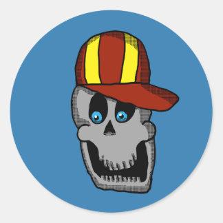 Etiqueta do crânio do chapéu de basebol