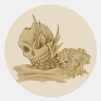 Etiqueta do crânio do pirata