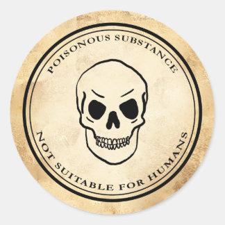 Adesivo Redondo Etiqueta do crânio do veneno da alquimia do