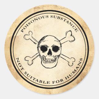 Etiqueta do crânio do veneno do apothecary do