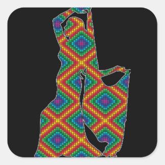 Etiqueta do dançarino de barriga adesivo quadrado