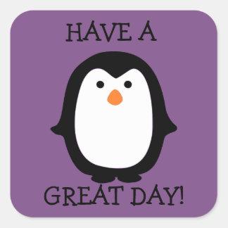 Etiqueta do dia do pinguim bonito grande