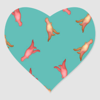 Etiqueta do dinossauro adesivo coração