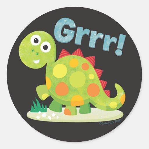 Etiqueta do dinossauro adesivo redondo