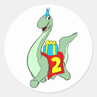 Etiqueta do dinossauro do partido de segundo anive adesivo em formato redondo