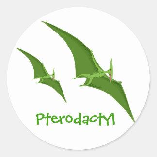 Etiqueta do dinossauro do Pterodactyl Adesivos Redondos