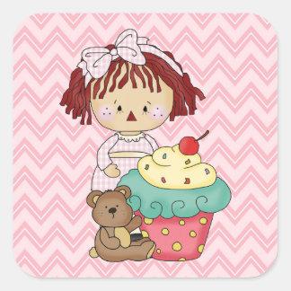 Etiqueta do doce da boneca de pano do cupcake adesivo quadrado