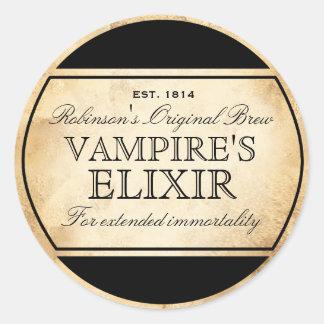 Etiqueta do elixir do vampiro da alquimia do