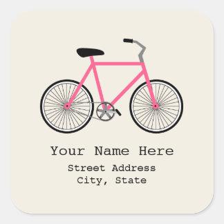 Etiqueta do endereço da bicicleta do rosa quente adesivos quadrados