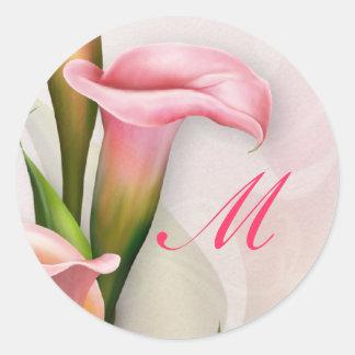 Etiqueta do envelope do monograma do rosa do lírio
