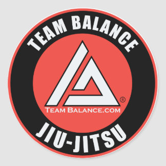 Etiqueta do equilíbrio da equipe adesivo em formato redondo