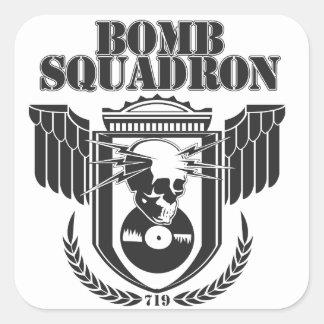 Etiqueta do esquadrão da bomba adesivo quadrado