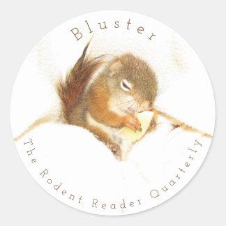 Etiqueta do esquilo vermelho da fanfarronada