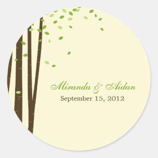 Etiqueta do favor das árvores de floresta ou verde adesivo em formato redondo
