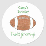 Etiqueta do favor do aniversário do futebol adesivo em formato redondo