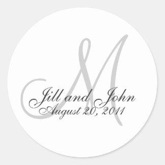 Etiqueta do favor do casamento do monograma adesivo