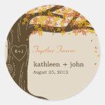 Etiqueta do favor do casamento outono do carvalho adesivos em formato redondos