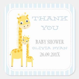 Etiqueta do favor do chá de fraldas dos girafas