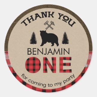 Etiqueta do favor do primeiro aniversario do urso adesivo