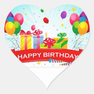 etiqueta do feliz aniversario adesivo coração