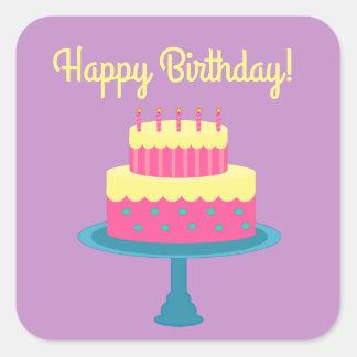 Etiqueta do feliz aniversario com bolo