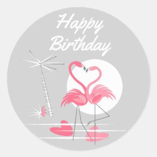 Etiqueta do feliz aniversario do amor do flamingo