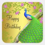 Etiqueta do feliz aniversario do pavão dos azuis m adesivos
