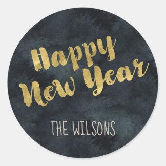 Etiqueta do feliz ano novo - aguarela & ouro