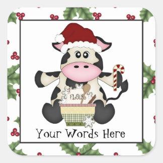 Etiqueta do feriado da vaca do Natal do cozimento Adesivo Em Forma Quadrada