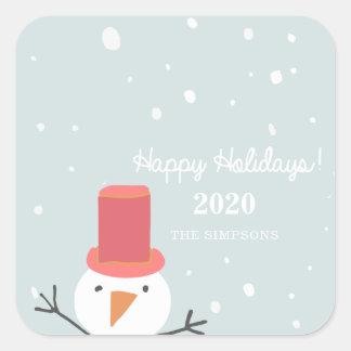 Etiqueta do feriado do boneco de neve