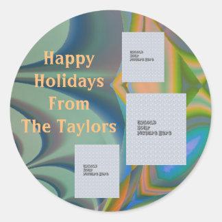 Etiqueta do feriado do modelo da foto do design 3 adesivo