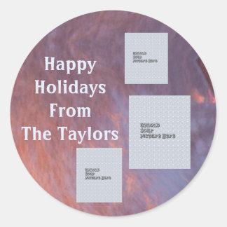 Etiqueta do feriado do modelo da foto do fulgor 3 adesivo