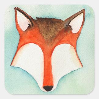 Etiqueta do Fox da aguarela