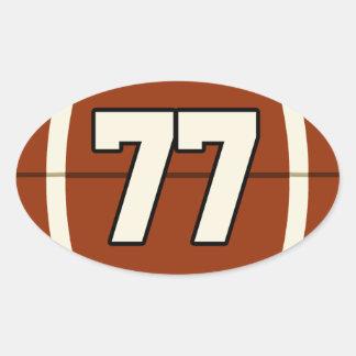 Etiqueta do futebol do número 77 adesivo oval