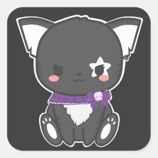 Etiqueta do gatinho do punk adesivo quadrado