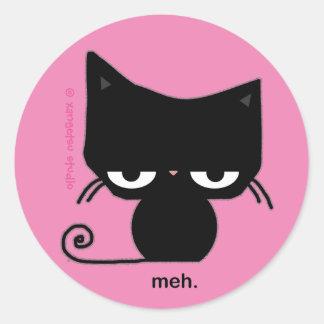 Etiqueta do gato de Meh no rosa