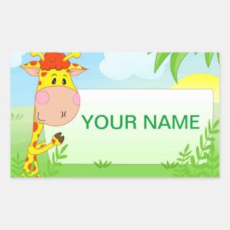 Etiqueta do girafa para crianças adesivo retangular