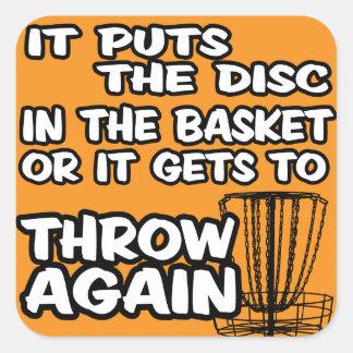 Etiqueta do golfe do disco adesivo quadrado