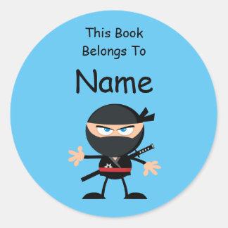 Etiqueta do livro de Ninja dos desenhos animados