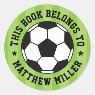 Etiqueta do livro do bookplate da bola de futebol