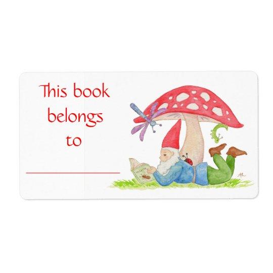 Etiqueta do livro do gnomo do inseto