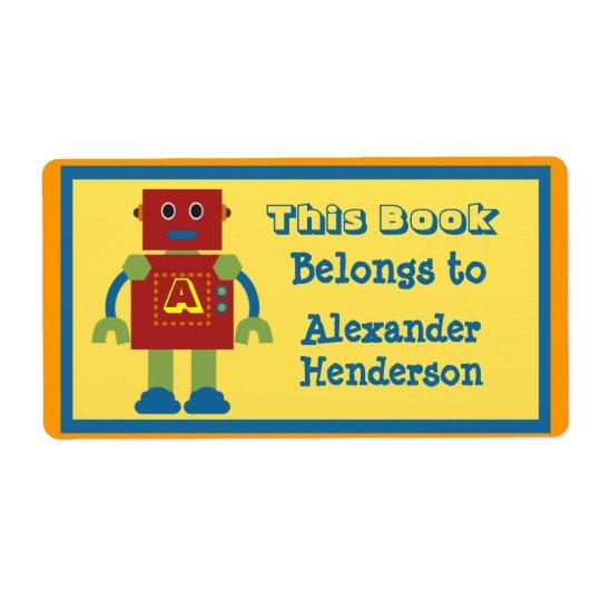 Etiqueta do livro do monograma do robô dos miúdos etiqueta de frete