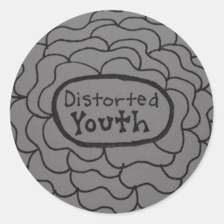 Etiqueta do logotipo de Distorted_Youth preto e Adesivo