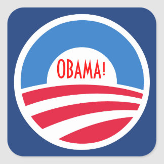 Etiqueta do logotipo de Obama Adesivo Em Forma Quadrada