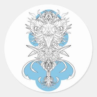 etiqueta do logotipo do crânio e das espadas