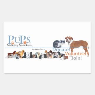 Etiqueta do logotipo dos filhotes de cachorro adesivo em formato retângular