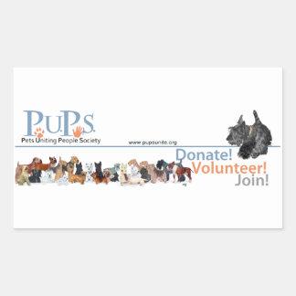 Etiqueta do logotipo dos filhotes de cachorro com adesivos em forma retangular